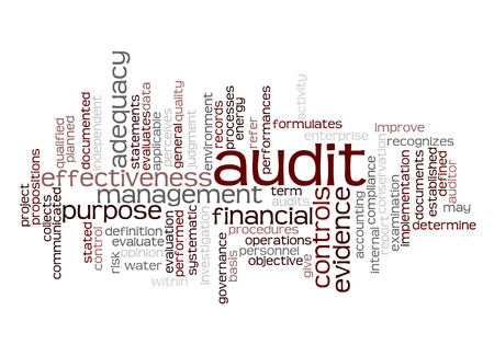 seeks: Word cloud of audit and its related words. Stock Photo