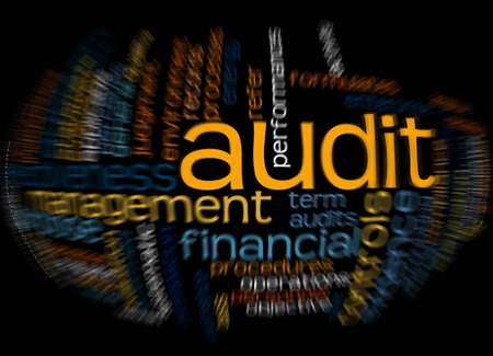 auditing: Word cloud of audit and its related words. Stock Photo