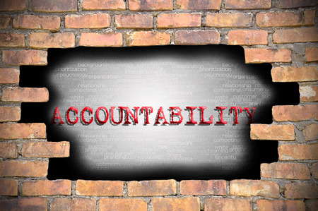 accountability: Hole at the brick wall with accountability caption inside.
