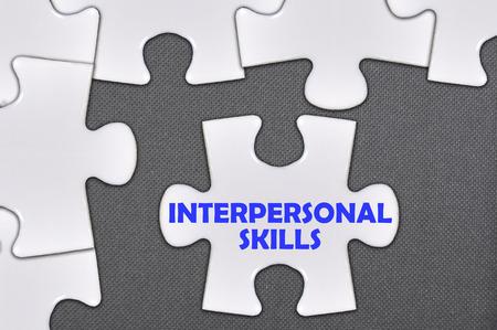 skills: The jigsaw puzzle written word interpersonal skills Stock Photo