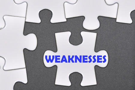 weaknesses: The jigsaw puzzle written weaknesses Stock Photo