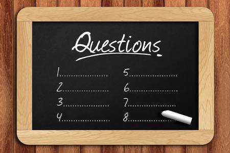 Chalkboard on the wooden table written questions list.