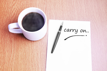 restaurant rating: Coffee, pen and notes write carry on. Stock Photo