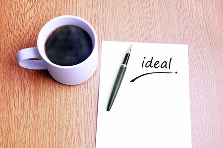 restaurant rating: Coffee, pen and notes write ideal. Stock Photo