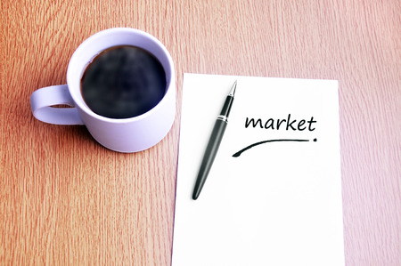 restaurant rating: Coffee, pen and notes write market. Stock Photo