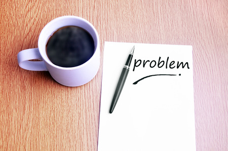 restaurant rating: Coffee, pen and notes write problem. Stock Photo