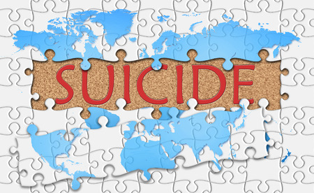 lacerate: Jigsaw puzzle reveal  word suicide.