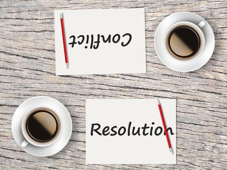 Il concetto di affari: Confronto tra la risoluzione e il conflitto. Archivio Fotografico - 41600566