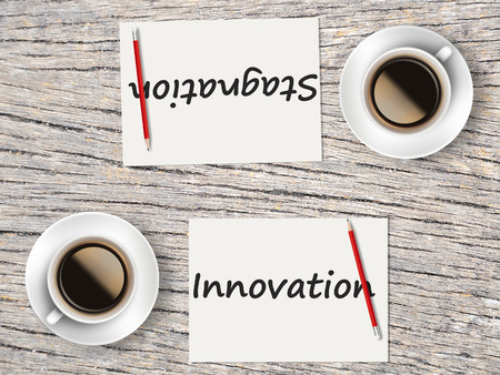 stagnation: The Business Concept : Comparison between innovation and stagnation .