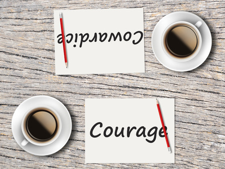 cowardice: The Business Concept : Comparison between courage and cowardice   . Stock Photo