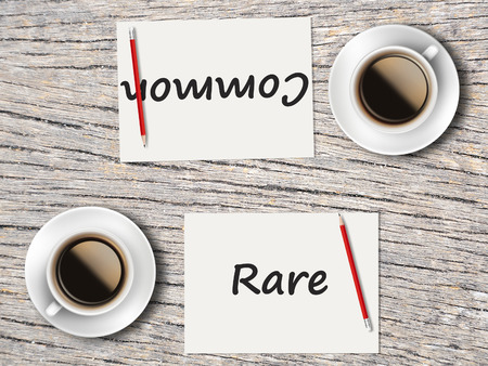 comparisons: The Business Concept : Comparison between common and rare  . Stock Photo