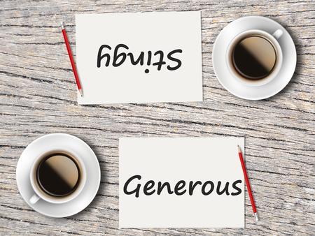 generoso: El concepto de negocio: Comparaci�n entre generoso y mezquino. Foto de archivo