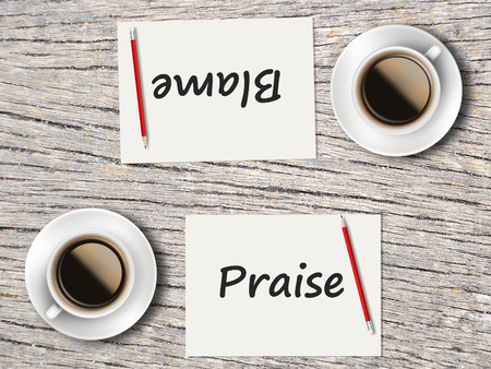 blame: The Business Concept : Comparison between blame and praise   . Stock Photo