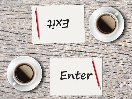 comparisons: The Business Concept : Comparison between enter and exit    . Stock Photo