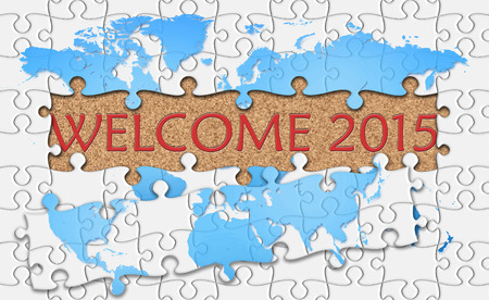 reveal: Jigsaw puzzle reveal  word welcome 2015. Stock Photo