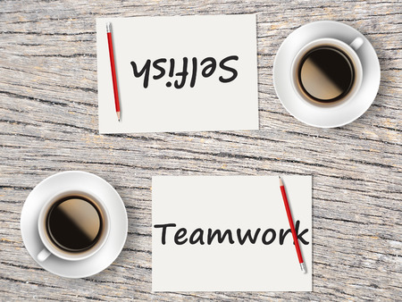 selfish: The Business Concept : Comparison between teamwork and selfish    . Stock Photo