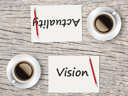 comparisons: The Business Concept : Comparison between vision and actuality   . Stock Photo