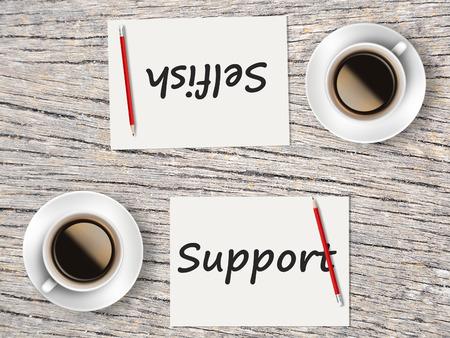 egoista: El concepto de negocio: Comparaci�n entre el apoyo y ego�sta. Foto de archivo