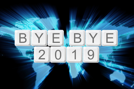 bye: world glow background and keyboard button with word bye bye 2019.