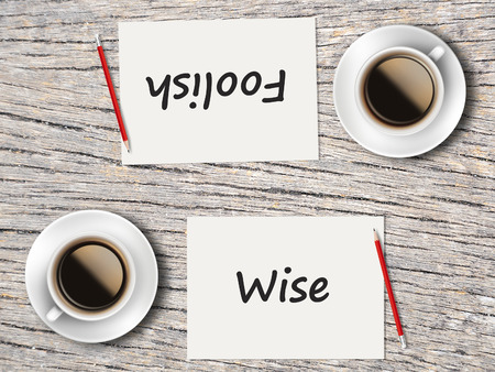 foolish: The Business Concept : Comparison between foolish and wise  . Stock Photo