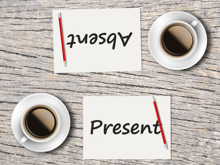 absent: The Business Concept : Comparison between present and absent    . Stock Photo