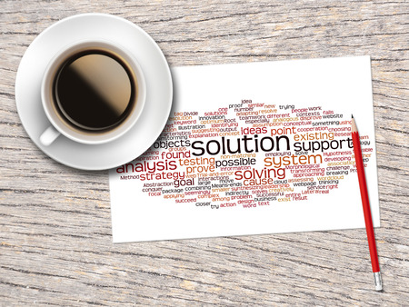 word clouds: Coffee, Pencil And A Note Contain Word Clouds Of Solution And Its Related Words. Stock Photo
