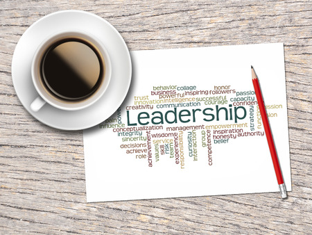 word clouds: Coffee, Pencil And A Note Contain Word Clouds Of Leadership And Its Related Words. Stock Photo