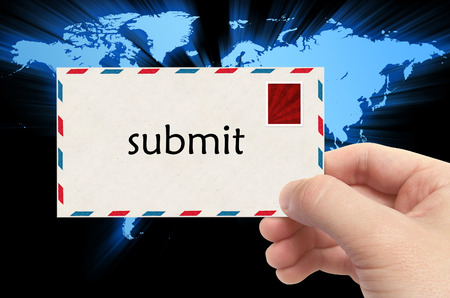submitting: submitting mail - email sending concept.