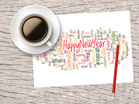 word clouds: Coffee, Pencil And A Note Contain Word Clouds Of Happy New Year And Its Related Words.