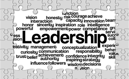 powerful creativity: Jigsaw puzzle reveal wordcloud of Leadership and its related words. Stock Photo