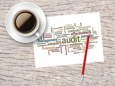 word clouds: Coffee, Pencil And A Note Contain Word Clouds Of Audit And Its Related Words.