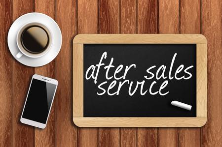 Caffè, telefono e lavagna con la parola servizio post-vendita. Archivio Fotografico - 41603246