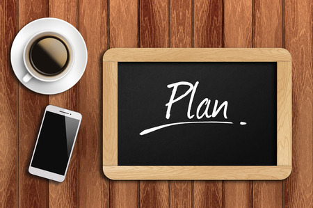 restaurant rating: coffee, phone  and chalkboard with  word plan.
