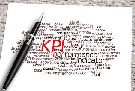 kpi: Close Up Pen And Kpi Word Cloud. Stock Photo