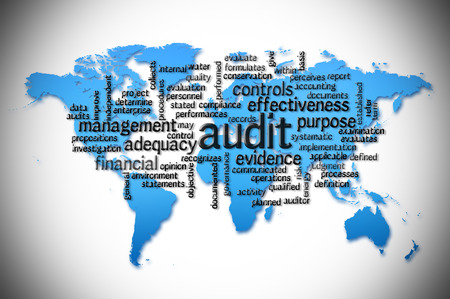 fairly: Word Cloud of  audit with world map background.
