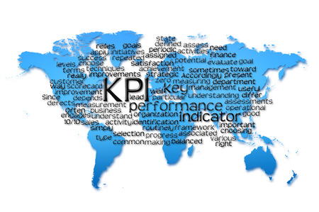 kpi: Word Cloud of kpi with world map background.