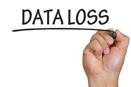 data loss: hand writing data loss  . Stock Photo