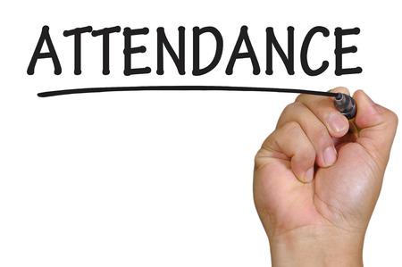 hand writing attendance . Stock Photo