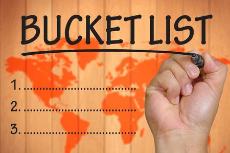 hand writing bucket List
