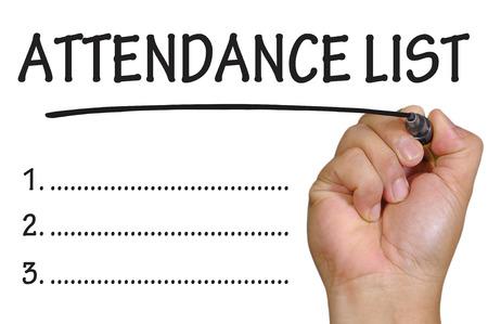 hand writing attendance List .