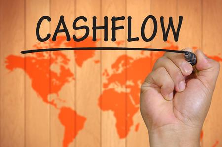 cashflow: hand writing cashflow     .