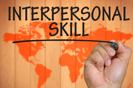 interpersonal: The hand writing interpersonal skill Stock Photo