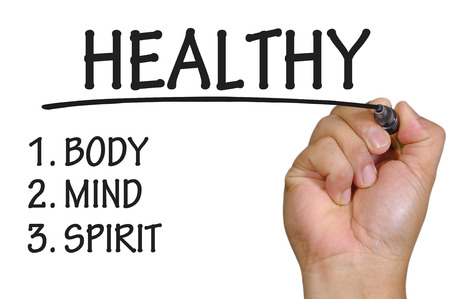 spiritual energy: The hand writing healthy Stock Photo