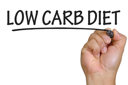carb: The hand writing low carb diet Stock Photo