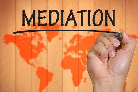 mediation: hand writing mediation . Stock Photo