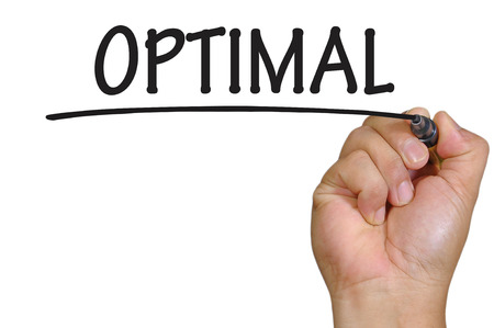 optimal: The hand writing optimal Stock Photo