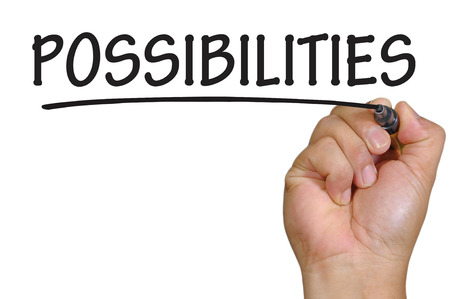possibilities: The hand writing possibilities Stock Photo