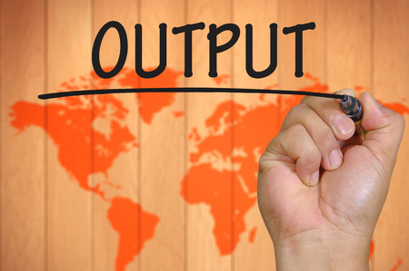 output: The hand writing output Stock Photo