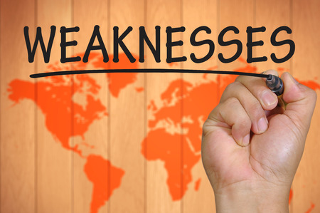 weaknesses: The hand writing weaknesses Stock Photo