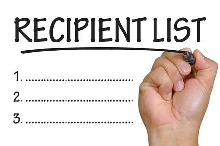 The hand writing recipient list